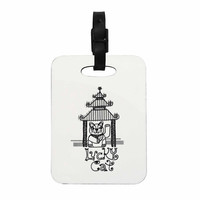 "Jane Smith ""Lucky Cat"" Black White Decorative Luggage Tag"