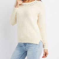 Sequin & Bead-Trim Pullover Sweater | Charlotte Russe