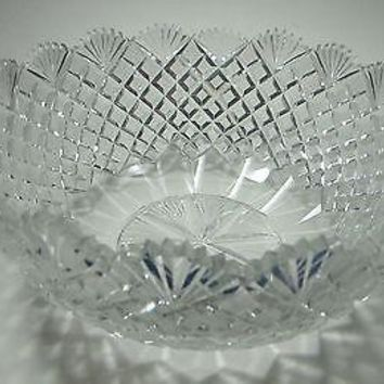 Hand Cut Glass and mouth blown bowl  pattern old hand polished