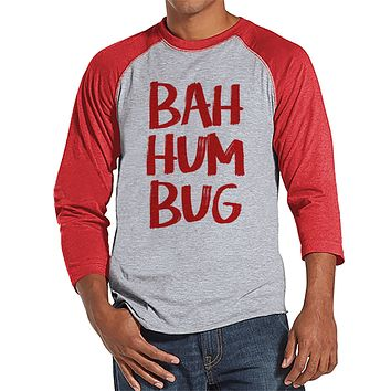Bah Hum Bug Christmas Shirt - Men's Christmas Top - Men's Baseball Tee - Red Raglan Shirt - Holiday Shirt - Men's Christmas Shirt