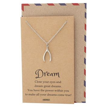 Danisha Wishbone Necklace, Inspirational Jewelry and Greeting Card