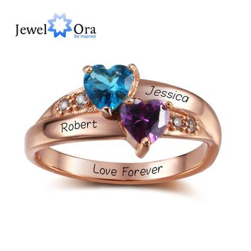 Birthstone Heart Rings Personalized Jewelry Engrave 925 Sterling Silver CZ Rings Birthday Gift For Girls (JewelOra RI102347)