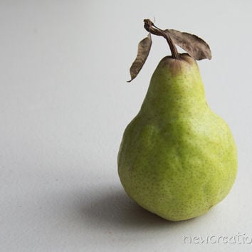 Pear fruit print, kitchen photography, minimalist gray green home decor foodie photo wall art