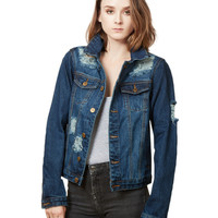 LE3NO Womens Oversized Long Sleeve Distressed Ripped Boyfriend Denim Jacket with Pocket (CLEARANCE)