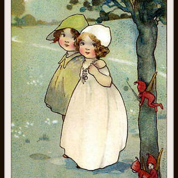 Vintage Art Print Wall Decor Nursery Print, Children and Fairies, 8.5 x 11, Reproducttion Unframed