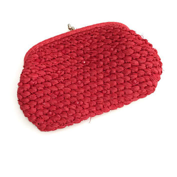 Red Straw Clutch Handbag, Makeup Bag, Rattan Clutch, Small Red Handbag, Woven Fiber Handbag, Summer Handbag, Boho Chic, Bohemian Style Bag