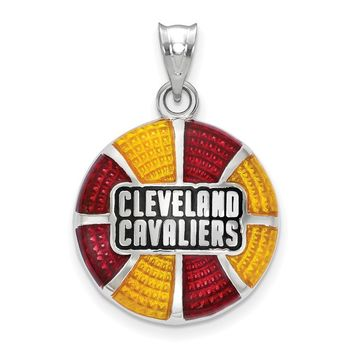 NBA Cleveland Cavs Large Disc Pendant in Sterling Silver