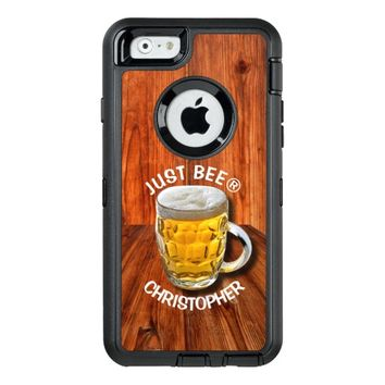 Glass Pint Beer Mug With White Head With Your Text OtterBox Defender iPhone Case