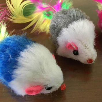 Color Random!!! 1 Piece New Pet Cat Dog Kitten Playing Toys False Mouse Rat Toys With feather Tail