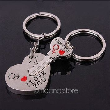 PEAPIX3 Good Couple Keychain Valentine's Day Lover Gift Keyring Key fob Heart Key = 1929694980