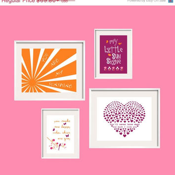 ON SALE Baby Girl Nursery Decor Purple Orange Nursery Art You Are My Sunshine Artwork in hot pink and orange baby gift by Yassisplace