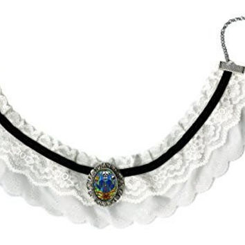 Ohm Guru Skull Metaphysical Master Black & White Lace Choker with Handmade Silver Art Brooch Pendant
