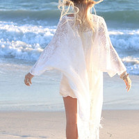 2016 Summer White Sun-proofed Cardigan Women Ladies Fringed Kimono Cardigan  Lace Blouse Beach Kimonos Vacation Sunscreen