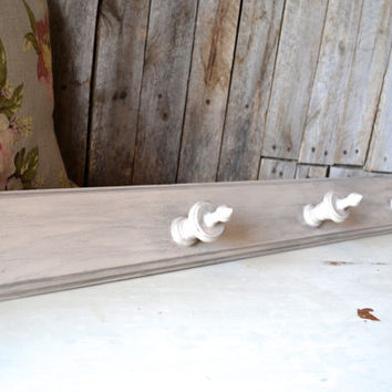 Light Brown / Taupe / Tan Distressed Wooden Coat Hanger