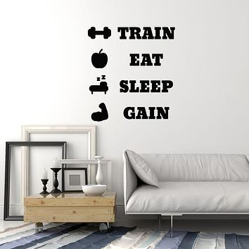 Vinyl Wall Decal Home Gym Decor Training Workout Fitness Center Sports Stickers Mural (ig6098)