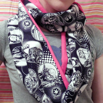 Pink Star Wars Infinity Scarf - Soft Cotton Flannel - Black White Star Wars Scarf - Original Cast Characters - Leah Hans Yoda Chewbacca