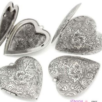 Photo Locket - Love Heart - Antique Silver(Fits 3x2.7cm) - Front is Carved Flower Pattern
