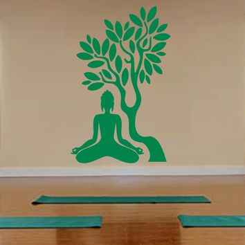 ik529 Wall Decal Sticker Room Decor Wall Art Mural Buddha tree yoga meditation
