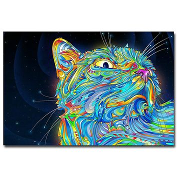 NICOLESHENTING Psychedelic Trippy Cat Art Silk Fabric Poster Abstract Wall Picture