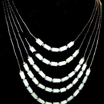 "White MOP Pearl Bead Necklace 5 Strands Liquid Silver Tribal  South Western 22"" Vintage"