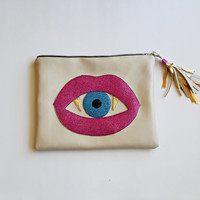Mysterious mouth  Small Leather Clutch.  Leather Pouch, Small Leather Bag. Leather Makeup Bag. Leather Cosmetic Bag. FREE SHİPPİNG