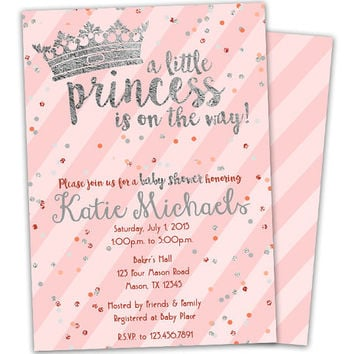 Pink Silver Princess Baby Shower Invitation - Crown Tiara Baby Shower Invites - Girl Baby Shower - Princess Shower - Glitter Confetti