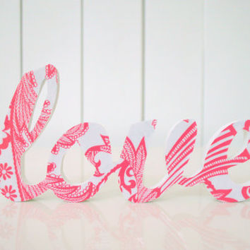 LOVE wood word art, wood decor, hanging or freestanding - pink & white fabric on painted wood