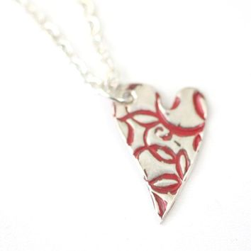 Red Flourish Heart Pendant // Artistic Style Heart Pendant // Perfect Gift for Her