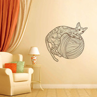 kik3198 Wall Decal Sticker Zentangle Style Cat tangle bedroom living room