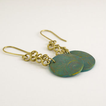 Green Circle Patina Earrings, Brass Dangle Loops, OOAK
