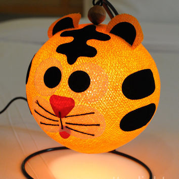 cartoon baby tiger Orange  lantern bed head lamp handmade display light home present decor boy room