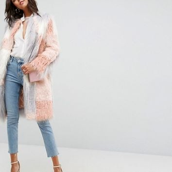 ASOS Patched Faux Fur Mongolian Coat at asos.com