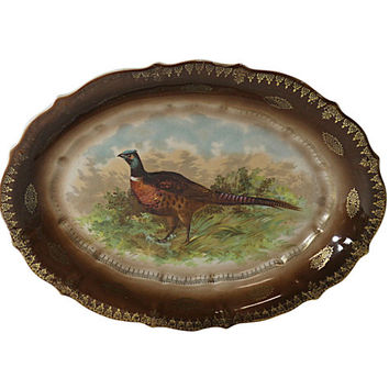 1800s Pheasant Serving Platter, Vintage Porcelain Autumn Decor, Antique Fall Colors