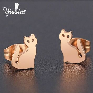 Yiustar Korean Fashion Bts Accessories Women Cat Earrings Stainless Steel Earrings Stud Earrings pendientes mujer moda