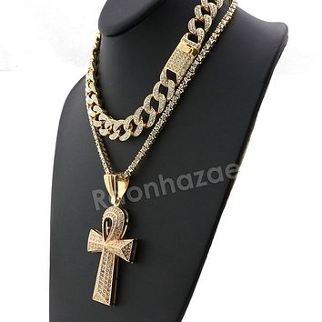 Hip Hop Iced Out Quavo Ankh Cross Miami Cuban Choker Tennis Chain Necklace L09