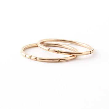 Gold Tribal Stacking Ring Set / (2) thin 14k gold-fill bands / carved line design / skinny layering rings / minimalist metalwork