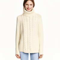 Cable-knit Turtleneck Sweater - from H&M