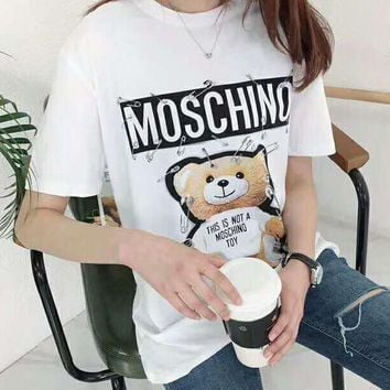 MOSCHINO Fashion Women Casual Cute Bear Print Round Collar T-Shirt Top Blouse