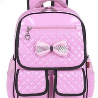 Vere Gloria Children School Backpack Bags for Primary Girls Students PU Leather Bow
