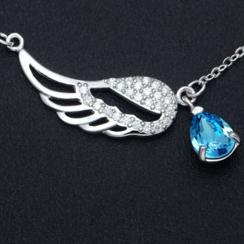 Angel wings and blue crystal 925 sterling silver necklace