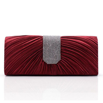 Classic Women Satin Rhinestone Evening Bag