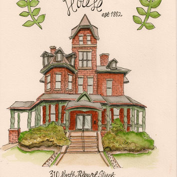 Whimsical Pen and Watercolor Custom Home Portrait