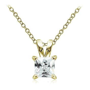 Gold Tone over Sterling Silver 2ct Cubic Zirconia 7mm Square Solitaire Necklace