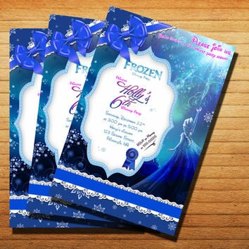 Frozen Birthday Party Invitation Cards 4x6, 5x7, Customized