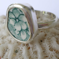 Broken China Ring Chaney Ring  Sterling Silver Ring Green Flower Ring  Any Size 100% Handcrafted