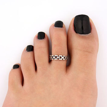 toe ring sterling silver toe ring Chain design adjustable toe ring (T-67) Also knuckle ring