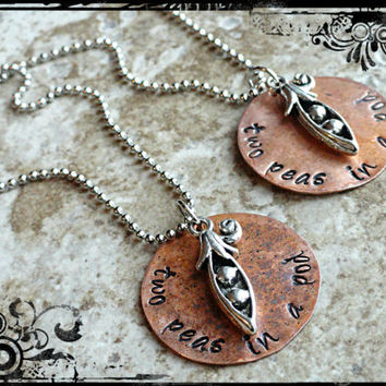Best Friends Necklace Sisters Necklace Two Peas in a Pod Necklace Set of 2