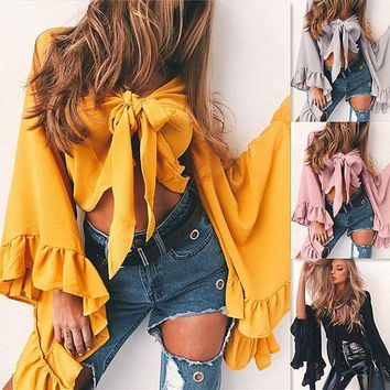 ESBON Solid Color Fashion Knotted V-Neck Cardigan Long Sleeve Petals Sleeves Women Chiffon Crop Tops