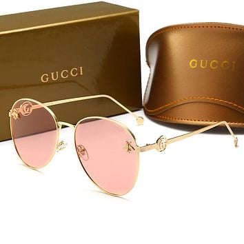 GUCCI Trending Woman Men Stylish Bee Summer Sun Shades Eyeglasses Glasses Sunglasses Pink