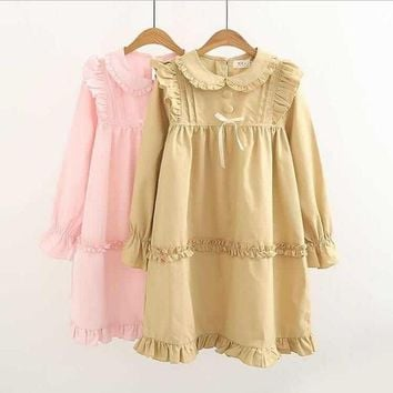 Spring new Japanese Lolita doll collar splicing wooden ear cute dress female solid color cotton and linen long-sleeved dressL551